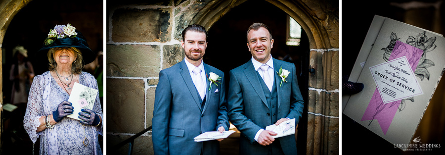 Gawsworth Chuch wedding guests looking happy