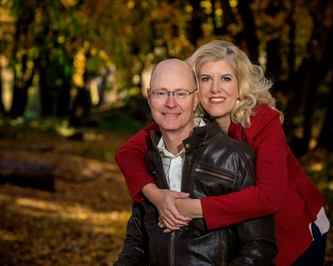 Couple portrait in the woods near the river.