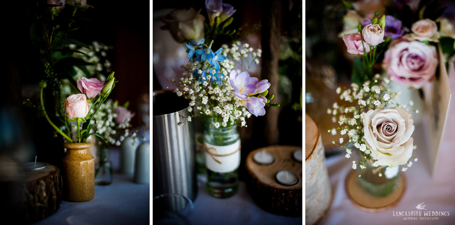 Sandhole Oak Barn flowers at the top table