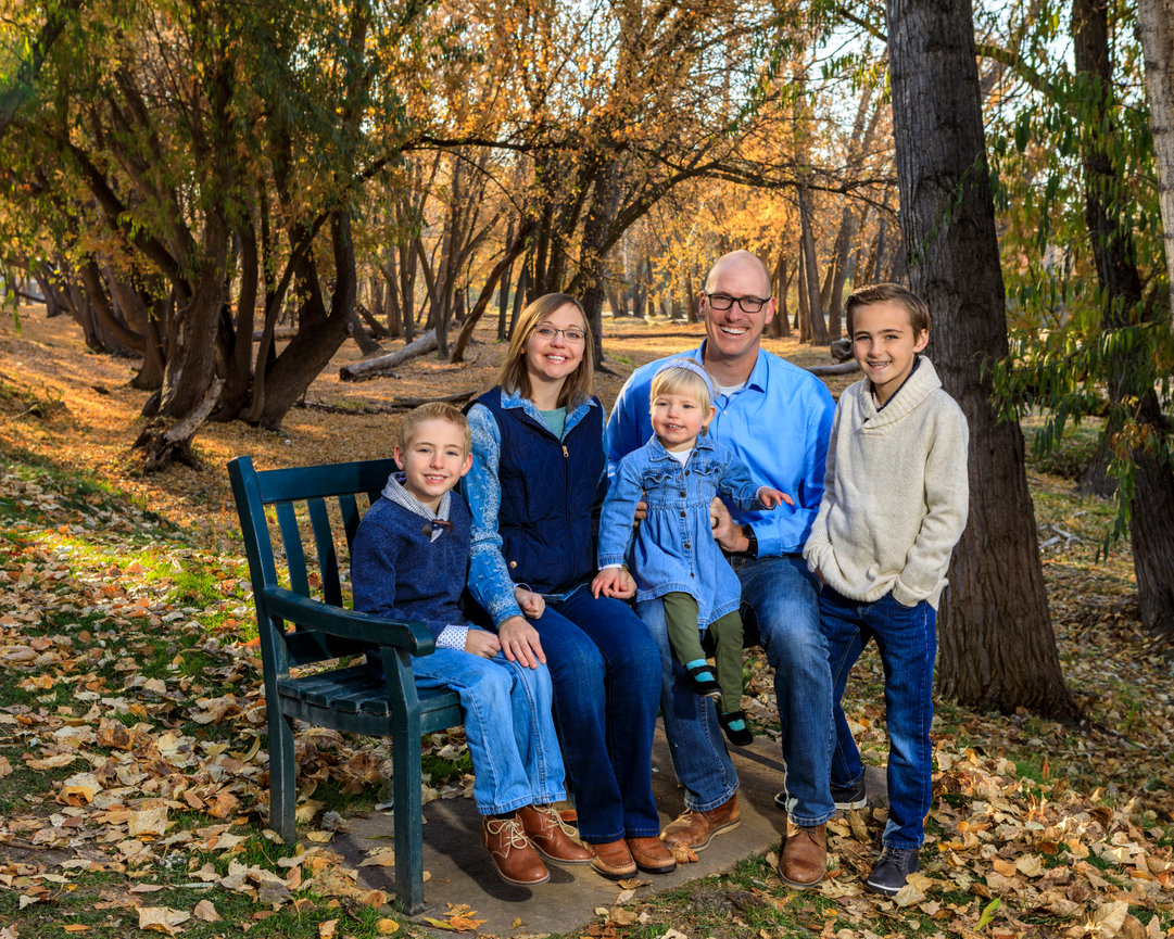 Family in wooded area near Boise River