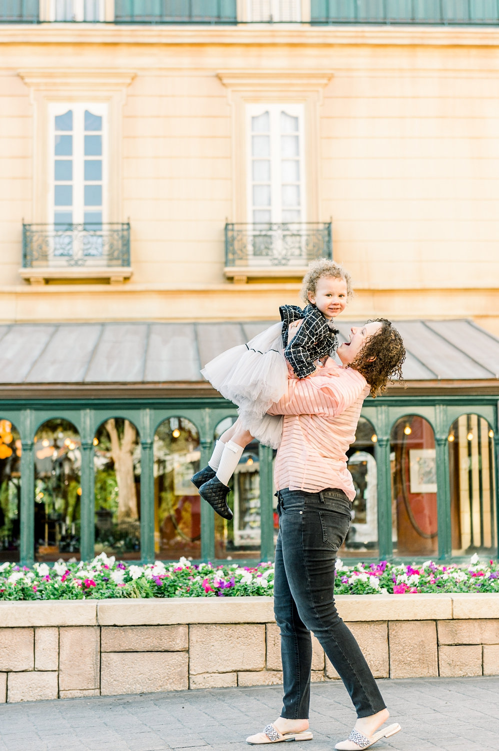 mom and daughter in EPCOT, mother and daughter at EPCOT, France