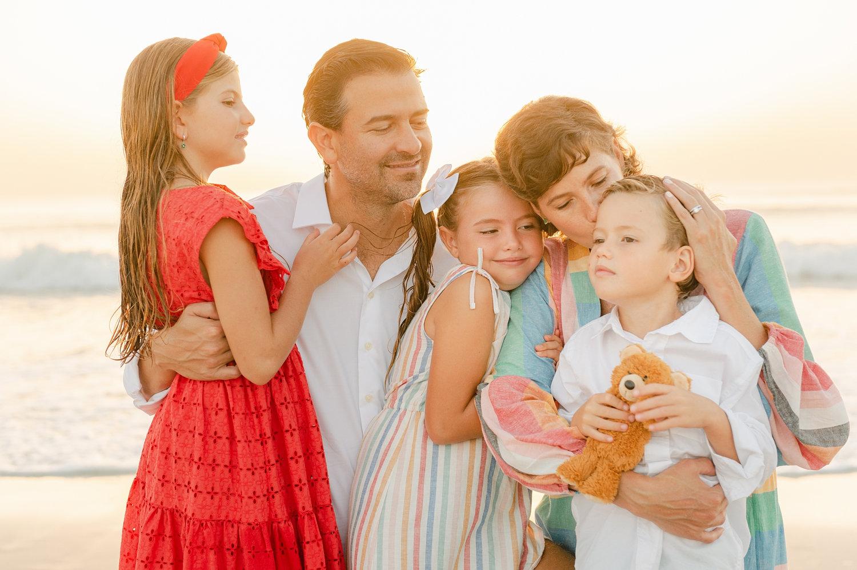 family of 5 cancer survivor portrait session, parents and 3 children